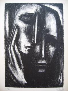 Maurice Rocher Original lithograph for the poem J'arriverai a défaire la mort by Jean Cayrol