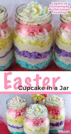 Easter Cupcake in a Jar - featuring colorful cake layers and delicious Buttercream Frosting is a unique take on cupcakes Mini Desserts, Holiday Desserts, Cake In A Jar, Dessert In A Jar, Cupcakes In A Jar, Mocha Cupcakes, Gourmet Cupcakes, Strawberry Cupcakes, Velvet Cupcakes