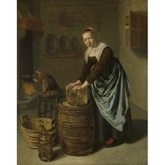 Woman Scouring A Vessel Canvas Art - (24 x 36)