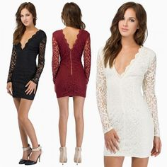 d99a0c596b34 Sexy Women Lace Dress Plunge V Neck Zip Backless Long Sleeve Cocktail Party Mini  Dress Black Burgundy White l black Online Shopping