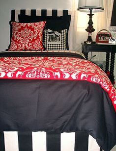 UGA Red And Black Damask Dorm Room Bedding