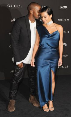 Pin for Later: Hot Hollywood Stars Trade Halloween Costumes For Red Carpet Glamour  Kim Kardashian and Kanye West got cute on the red carpet.
