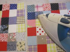 Postage-Stamp Scrap Fabric Patchwork Quilt | tutorial uses sheerweight interfacing for quick and accurate seaming