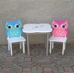 Pink and Blue Girls Owl Table and Chair Set. So cute!