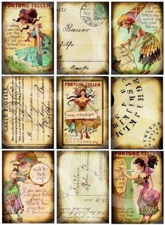FoRTuNe TeLLeR SeT of 9 Digital designs Collage sheet DOWNLOAD hang tags journals scrapbooking supplies via Etsy