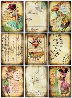FoRTuNe TeLLeR SeT of 9 Digital designs Collage sheet DOWNLOAD hang tags journals scrapbooking supplies via Etsy
