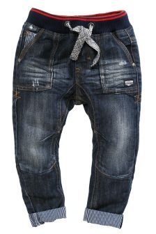 Rib Waist Contrast Ticking Jeans (3mths-6yrs)