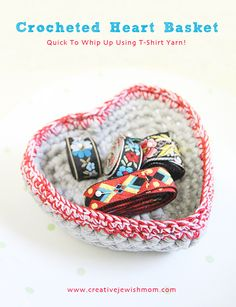 Crocheted Heart Basket