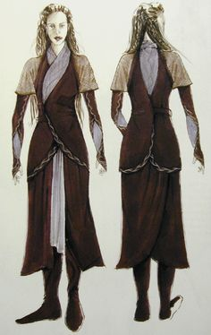 """Early concept art for Arwen's Chase Costume from """"Lord of the Rings: The Fellowship of the Ring"""" Tolkien, Medieval Dress, Medieval Fantasy, Fantasy Inspiration, Character Inspiration, Hobbit Costume, Elven Costume, Chase Costume, Movie Costumes"""