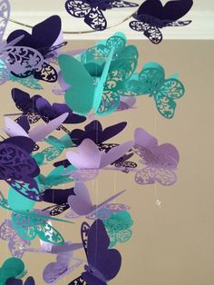 Flourish Butterfly Mobile in Purple and Teal, Baby Nursery, Kids Room,girl room… Butterfly Nursery, Butterfly Mobile, Butterfly Baby, Purple Butterfly, Purple Baby, Girl Nursery Purple, Pink Purple, Flower Mobile, Baby Mädchen Mobile
