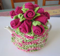 Knitted Rose Bud Cosy. Use the roses on many different projects.