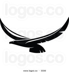 Royalty Free Vector of a Black and White Flying Eagle Logo