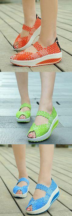 US$21.97 Peep Toe Knitting Platform Rocker Sole Shake Shoes For Women