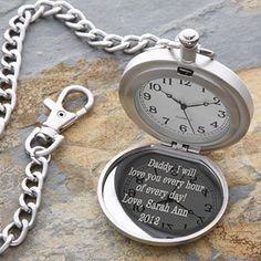 Personalized Silver Pocket Watch With Engraved Monogram - 1157
