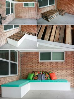 Backyard Update: DIY Outdoor Couch (An inexpensive pallet project!) Looking for more seating? Make this DIY outdoor couch! This simple project made out of pallets is inexpensive and great . Easy Woodworking Projects, Diy Pallet Projects, Wood Projects, Pallet Ideas, Backyard Projects, Fine Woodworking, Outdoor Furniture Plans, Pallet Furniture, Rustic Furniture