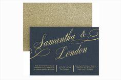 Black and gold glamorous wedding invitations | Winter Wedding Ideas: Winter Wedding Invitations via @insideweddings