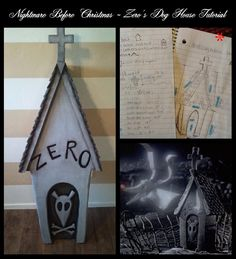 DIY Nightmare Before Christmas Halloween Props: Nightmare Before Christmas: Zero's Dog House Grave Stone Tutorial