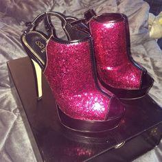 Pink And Black Sling Back Heels