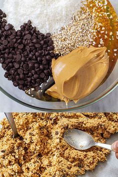 No-Bake Bar Recipes 1 cup (160g) steel-cut oats (those that takes about 3 min to cook) 1 cup (80g) unsweetened shredded coconut 1/3 cup (80g) mini-chocolate chips 1/2 cup (90g) peanut butter 1/3 cup (100g) honey