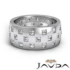 Natural Round Cut Diamond Mens 9 4mm Eternity Wedding Band Ring Platinum 1 35ct | eBay