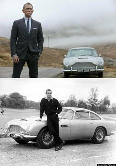 Daniel Craig may be the sixth or seventh actor to portray James Bond, but there's one thing that remains timeless: Bond's 1964 Aston Martin seen below with Sean Connery. James Bond Skyfall, James Bond Cars, James Bond Movies, Daniel Craig, Aston Martin Db5, Ford Motor Company, Roadster, Bond Girls, Man Cave Bar