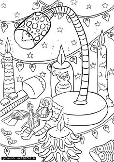 OPTMIMMI | A free coloring page of a bookworm and her reading lights / Ilmainen värityskuva lukutoukasta valoineen