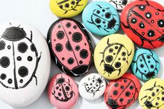 """Alisa Burke's """"ladybug garden"""" idea -- sweet and whimsical, could even let the kiddos paint their own for the garden!"""