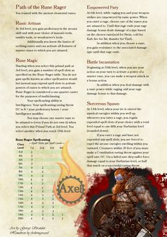 Homebrewing class The Rune Rager. The closest to a caster a Barbarian subclass will ever get when made by me. This subclass uses elements of the Rune Scribe Unearthed Arcana, you will need that PDF. Homebrewed for Dungeons amp; Dragons Edition by me. Dungeons And Dragons Cleric, Dungeons And Dragons Classes, Dungeons And Dragons Homebrew, Dungeons And Dragons Characters, Dnd Characters, Barbarian Dnd, Barbarian Build, Dnd Stats, Dnd Classes
