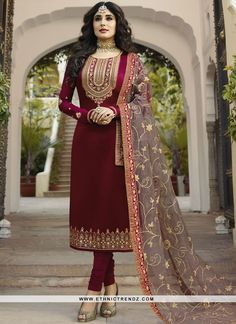 Buy Kritika Kamra Magenta Satin Georgette Churidar online, SKU Code: This Wine color Party churidar suit for Women comes with Embroidered Faux Georgette . Shop Now! Pakistani Dresses Party, Bollywood Dress, Indian Gowns Dresses, Indian Fashion Dresses, Pakistani Dress Design, Indian Designer Outfits, Party Wear Dresses, Event Dresses, Indian Outfits