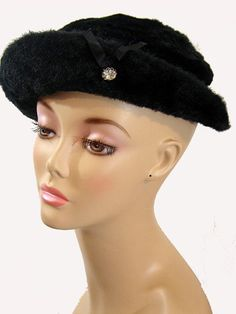 Mouse over image to zoom  Have one to sell? Sell it yourself LADIES HAT FUR FELT RHINESTONE Black 40s VINTAGE