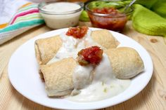 Baked Chicken Chimichangas With A Green Chili Sour Cream Sauce. Jalapeno Poppers, Mexican Dishes, Mexican Food Recipes, Mexican Meals, Entree Recipes, Ethnic Recipes, Baked Chicken, Chicken Recipes, Turkey Recipes