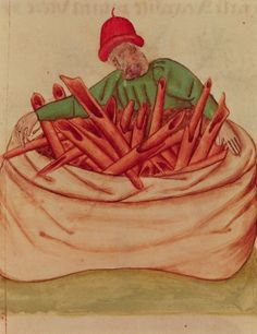 Cinnamon seller (mid 15th century); Tractatus de herbis, Modena bib estense, ms.alfa L.2.98, Lat.993