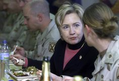 A power woman power lunches with US troops in Bagram Airbase, north of Kabul, in 2003. (Photo via Reuters)  via @AOL_Lifestyle Read more: http://www.aol.com/article/2016/06/20/heres-why-voters-dont-like-donald-trump-and-hillary-clinton/21398108/?a_dgi=aolshare_pinterest#fullscreen