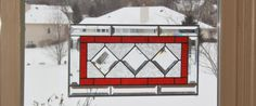 Beveled red stained glass window panel diamond by SGHovel on Etsy, $109.00