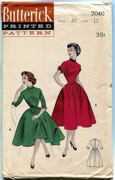 1950s Day Cocktail Fit & Flare Dress w/ par DesignRewindFashions