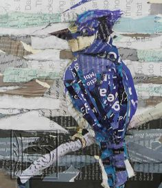 lue Bird, is one of a pair of Blue Birds by NW Artist Susan Schenk. This piece, made of recycled torn paper, measures 7 inches by 7 inches and is framed 12.5 inches square.