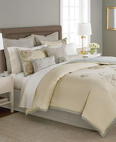 """love this for staging. """"gender neutral bedding"""" in blues and grays"""