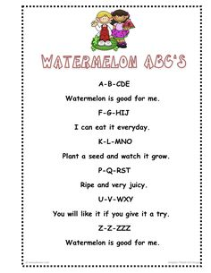 Preschool Songs, Preschool Lesson Plans, Preschool Literacy, Preschool Themes, Watermelon Activities, Watermelon Crafts, Picnic Theme, Farm Theme, Summer Crafts For Kids