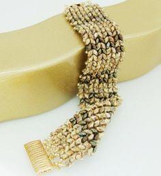 Cuff Herringbone Bracelet Beadwoven Bracelet by liorajewelry, $54.00