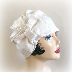 Flapper Turban Cloche Hat, Antique White, Cotton Damask, with Bow Accessory, the Evie, Spring Summer, Bridal, Special Occasion Hat, Chemo Hat, Made in the USA