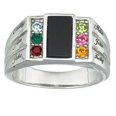 Sterling silver dad ring with birthstones and names - a great Father's Day gift for the man who likes jewelry