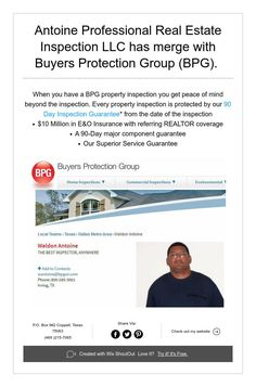 Antoine Professional Real Estate Inspection LLC has merge with Buyers Protection Group (BPG).