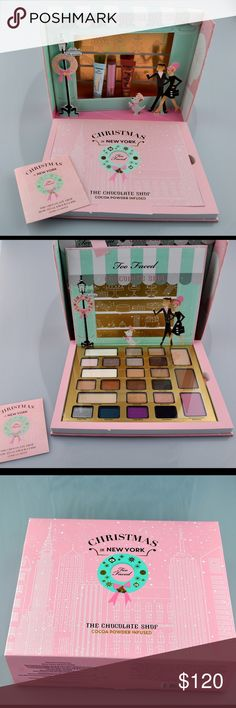 Too Faced Chocolate Shop Limited Edition Palette Brand new in box! Never been used. Sold out on Sephora.com. A makeup set with cocoa powder infused products. 21 eye shadows, a liquid lipstick, and matte bronzer. Plus a shadow primer, luminizer, blush and the best selling Better than Sex mascara. Also includes step-by-step glamor guide so you can effortlessly create 3 Beauty looks. Christmas 2016 Limited Edition. Smoke free pet friendly home Too Faced Makeup Eyeshadow