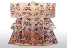 花菱に鳳凰 Japanese Noh Robe - Phoenix to flower design - Silk & Gold