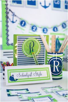 Preppy Nautical Monogram stripes polka dots sailboats anchors whales classroom decor and themes by Schoolgirl Style www.schoolgirlstyle.com
