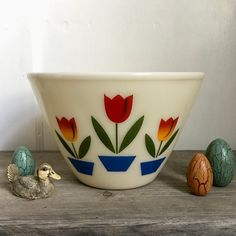 Your place to buy and sell all things handmade Yellow Tulips, Blue Flowers, Vintage Wine Glasses, Vintage Fire King, Nesting Bowls, French Chic, Milk Glass, Kitchenware, Flower Pots