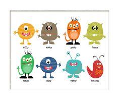 Nursery Art  Monster Mash Printable 8 x 10  Art SALE $4.95