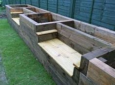「garden bench wood sleeper part of wall」の画像検索結果