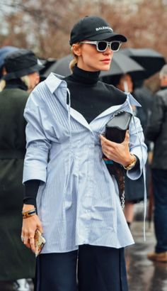 Tommy Ton, Street Style. PFW. Paris Fashion Week. Striped Shirt. Sunglasses. Balenciaga Cap,