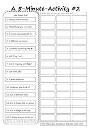 Another 5-Minute Activity